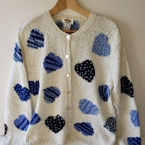 Vintage Talbots Blue and Cream Heart Sweater